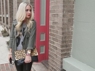 army jacket leopard clutch