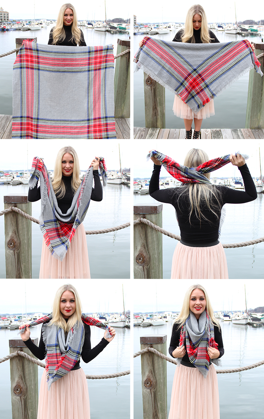 How To Tie a Square Blanket Chunky Scarf