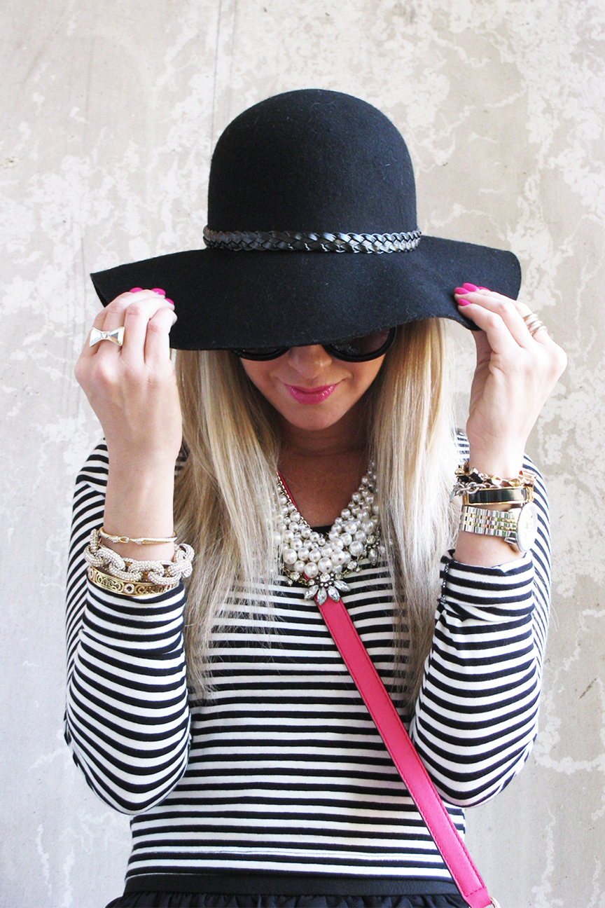 Black Wide Brim Floppy Felt Hat