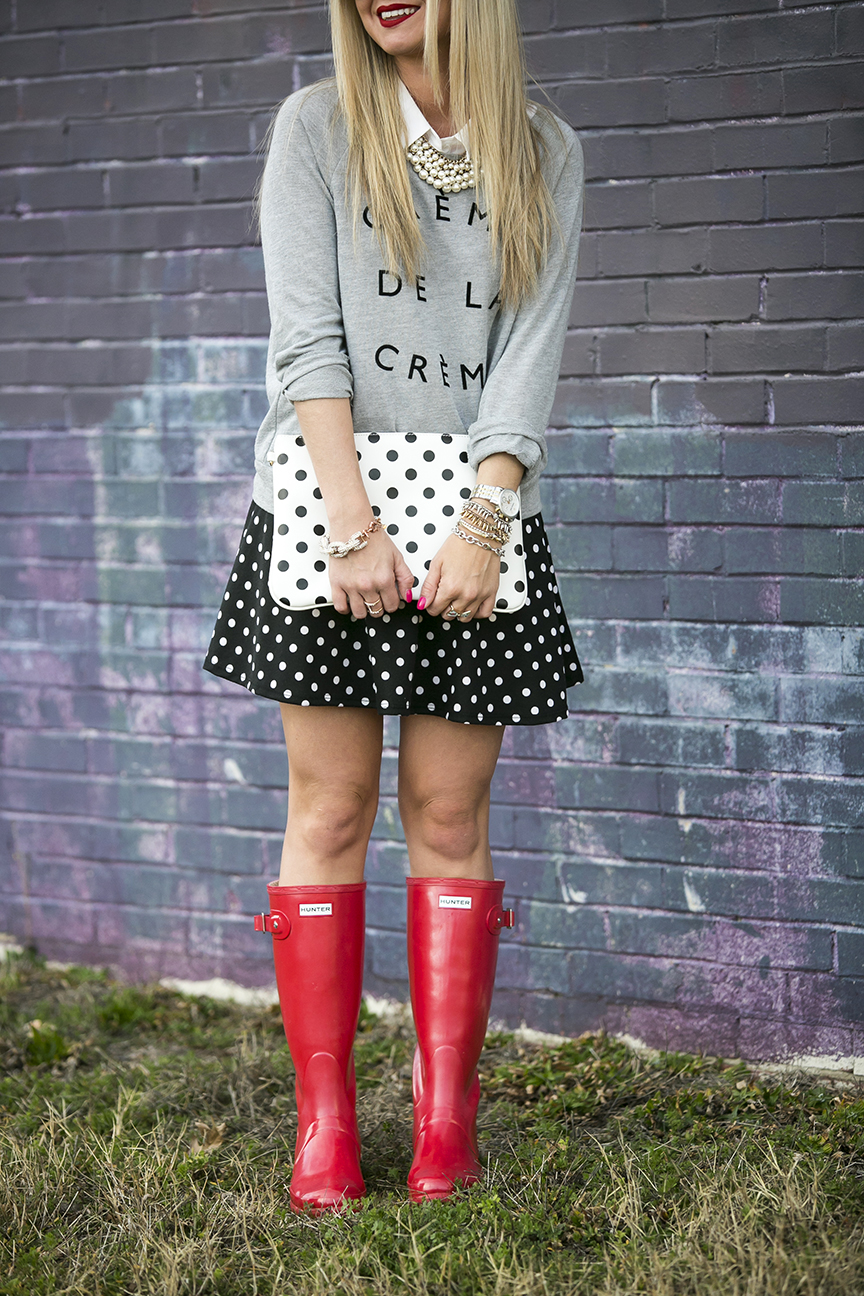 Polka Dot Skater Skirt and Clutch