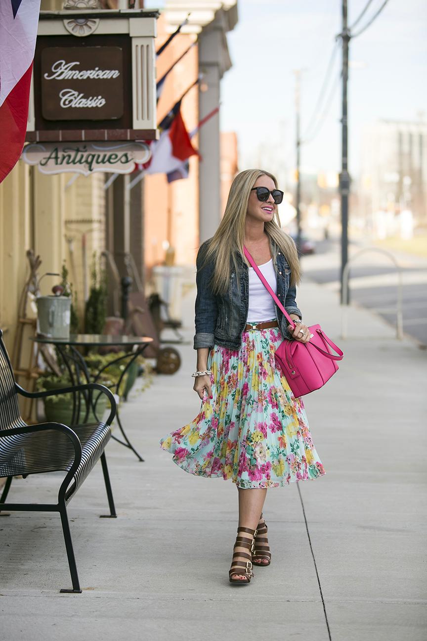 Floral Pastel Midi Skirt