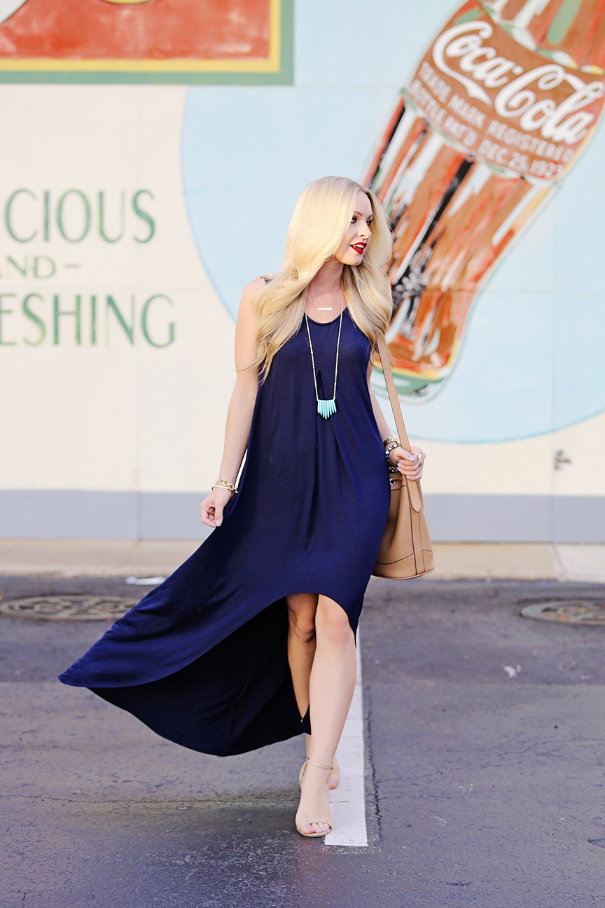 Navy Blue Hi Lo Dress