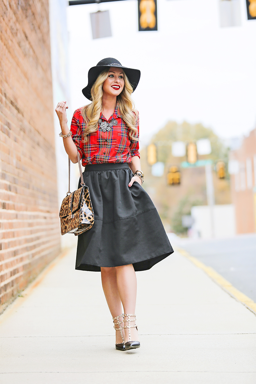 black midi skirt outfit