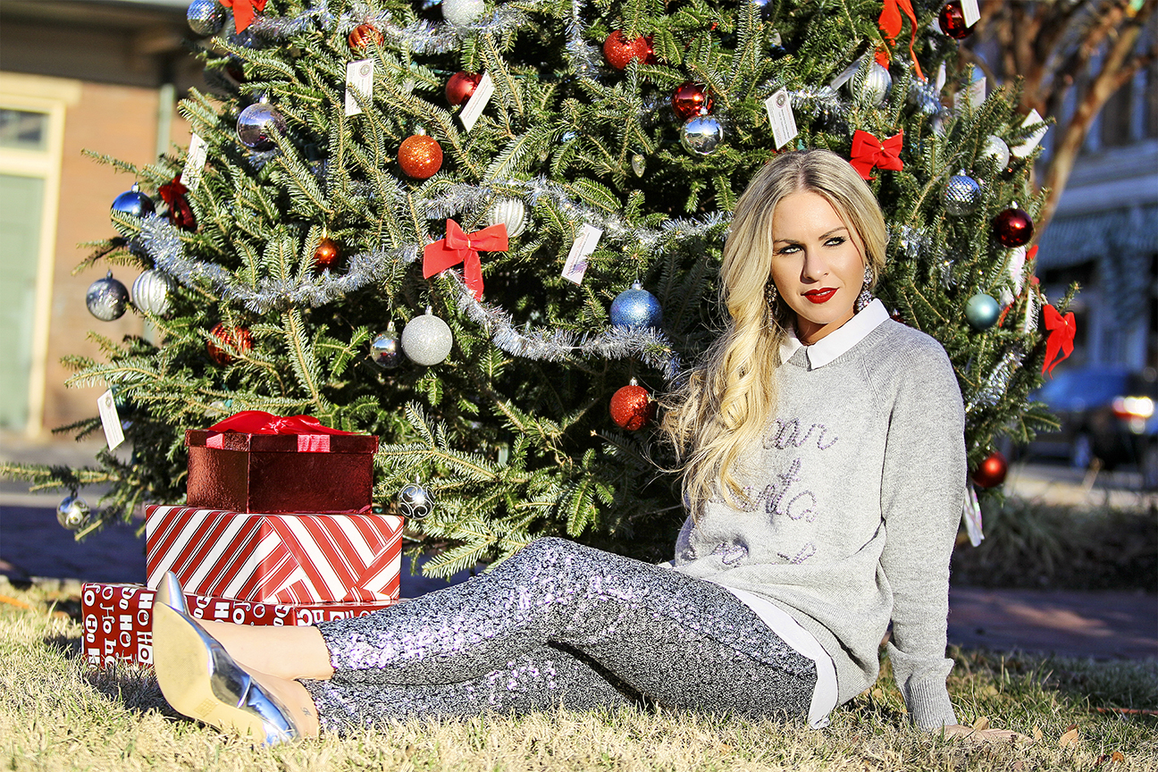 Sequined Leggings Silver