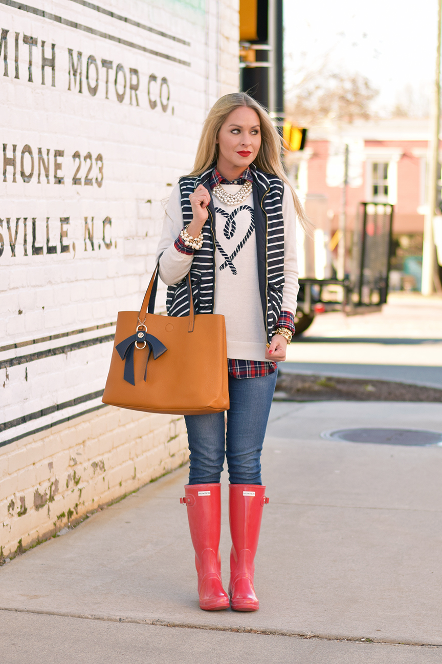Striped Vest and Red Hunter Boots