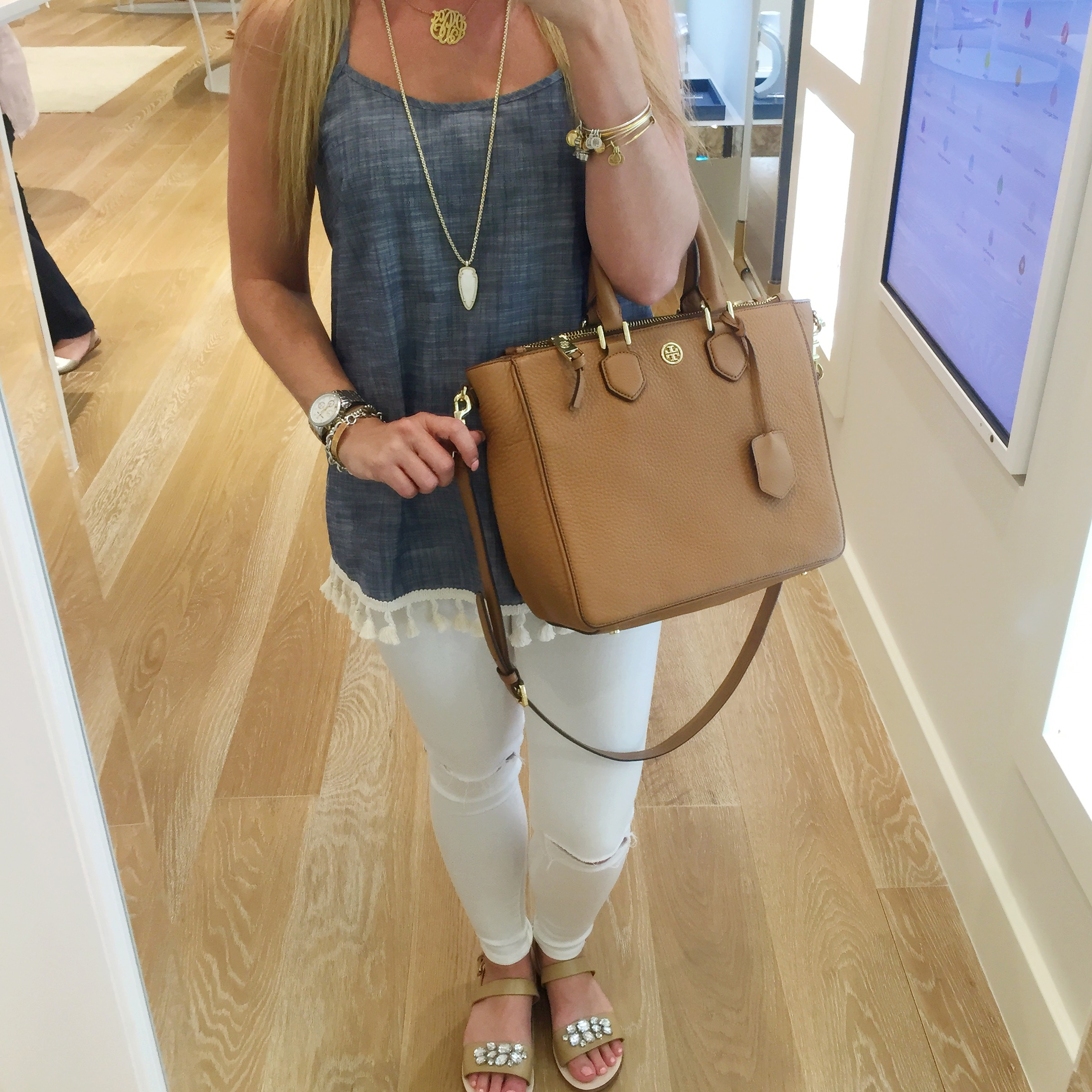 Chambray Tassel Tank Kelly Fields