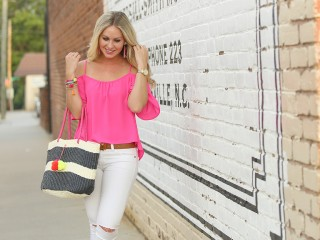 Pink Cold Shoulder Top 1