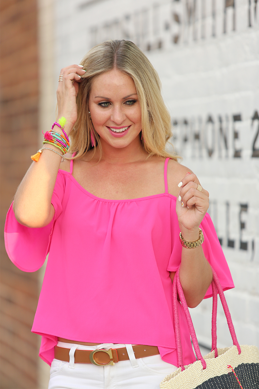 Pink Cold Shoulder Top 3
