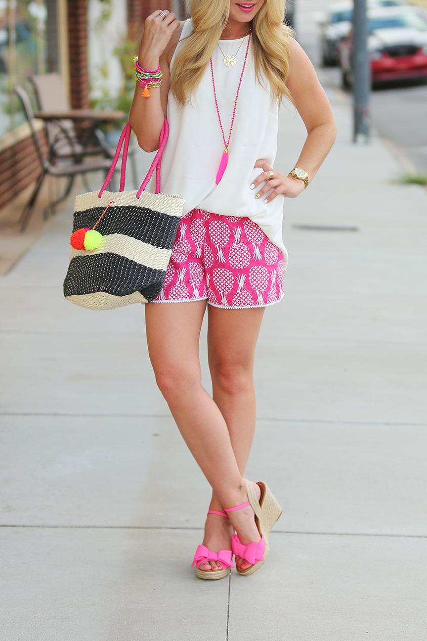 Pineapple Shorts, pom pom tote, kate spade bow wedges