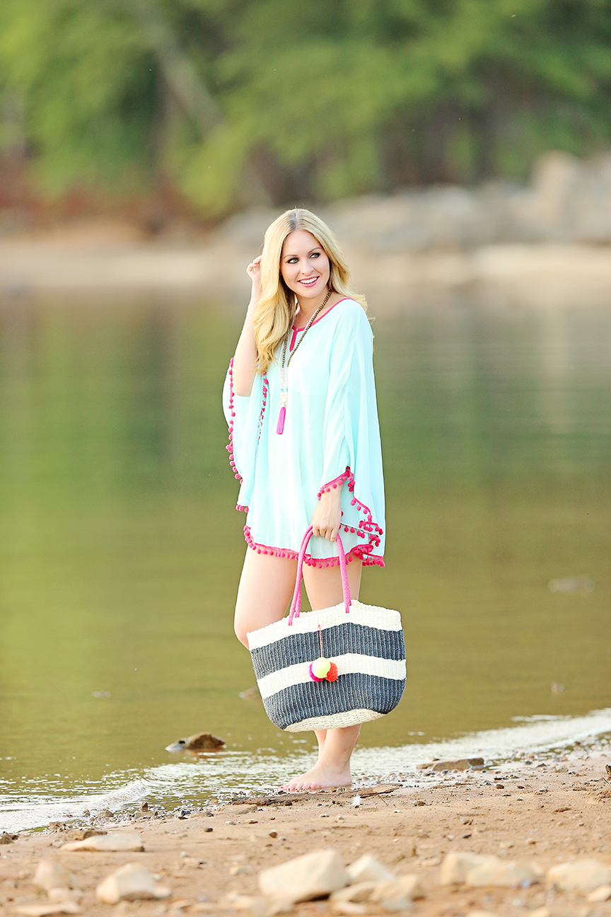 pom pom coverup and beach tote
