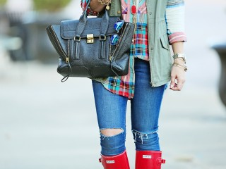 Hunter Boots and Plaid TopShop shirt