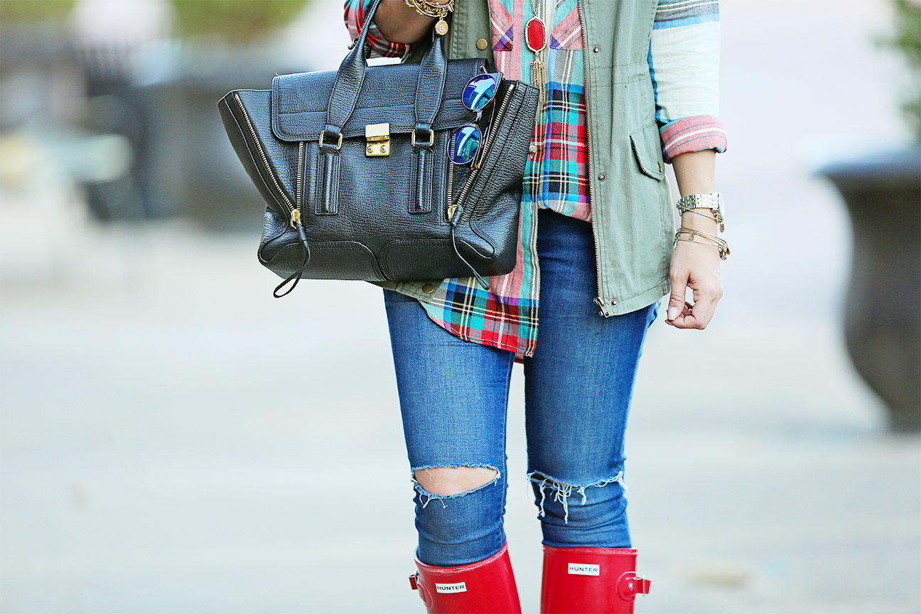Hunter Boots and Plaid TopShop shirt