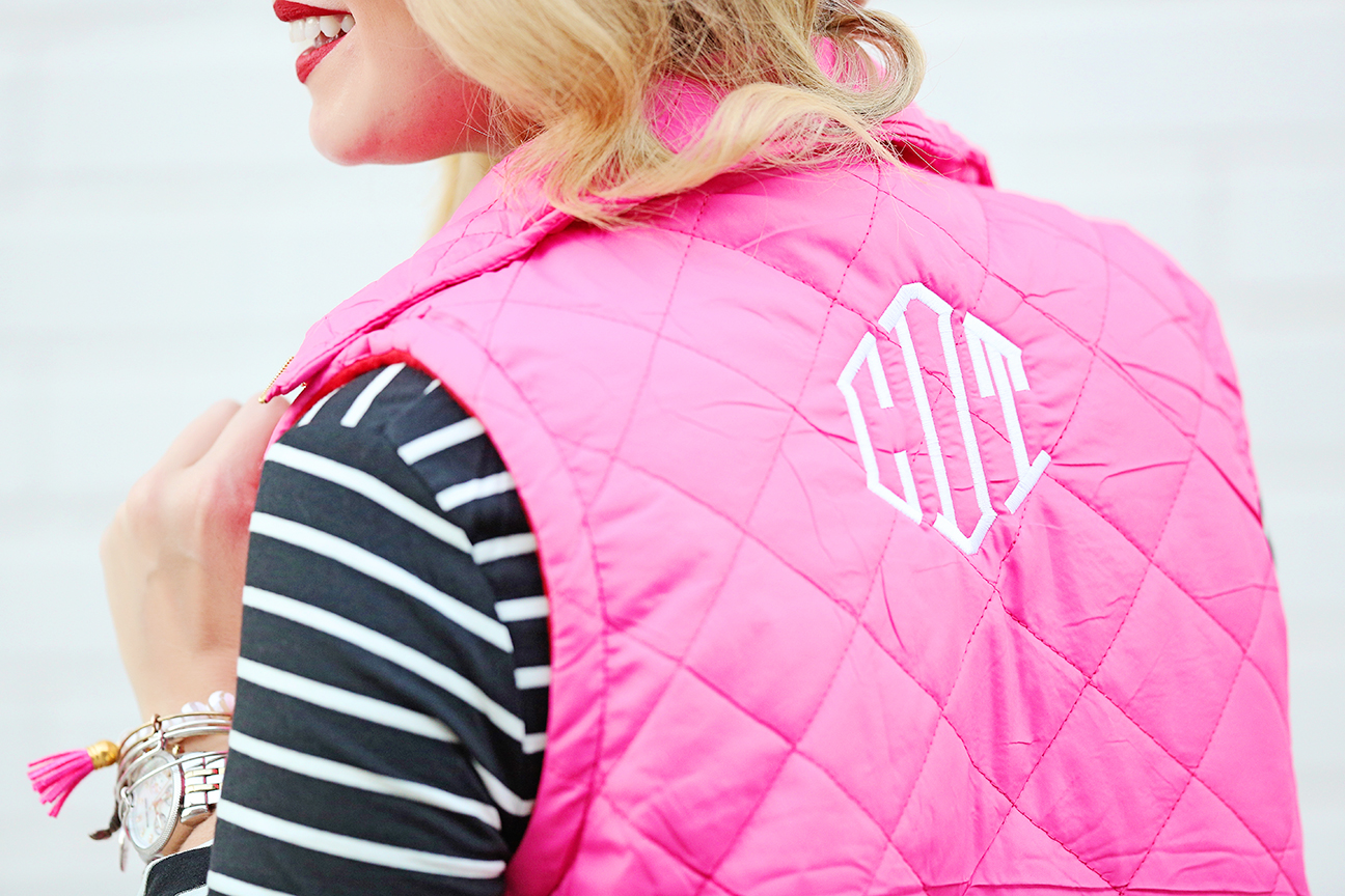 pink monogrammed vest