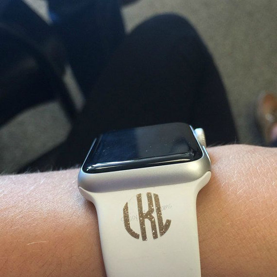 glitter apple watch band monogram
