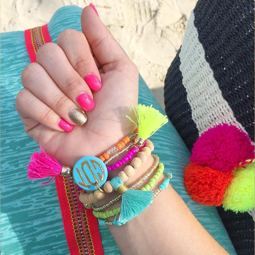 monogrammed tassel bracelets