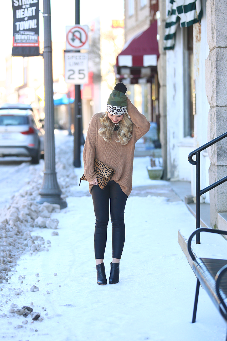 Leopard Beanie and leather leggings