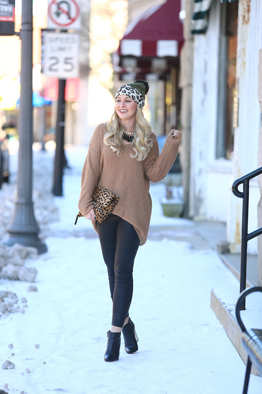 Leopard Clutch and Leather Leggings