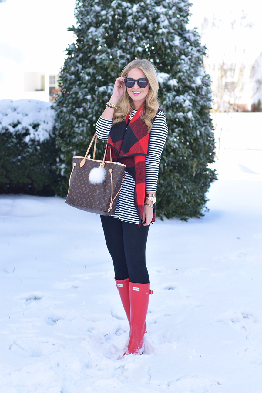 winter outfit inspiration with pops of red