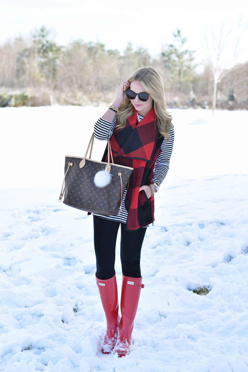 Red Hunter Boots and Louis Vuitton Neverfull
