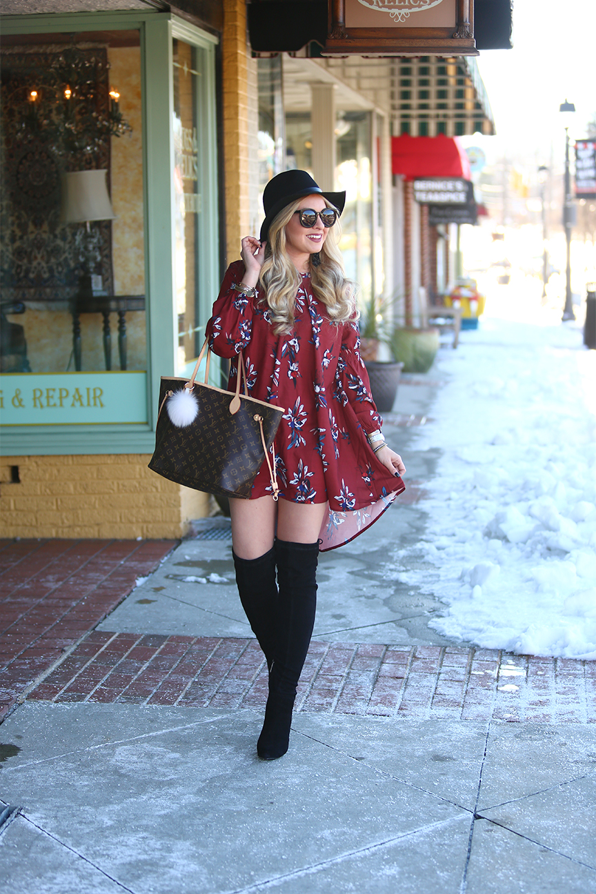 suede over the knee boots and louis vuitton neverfull