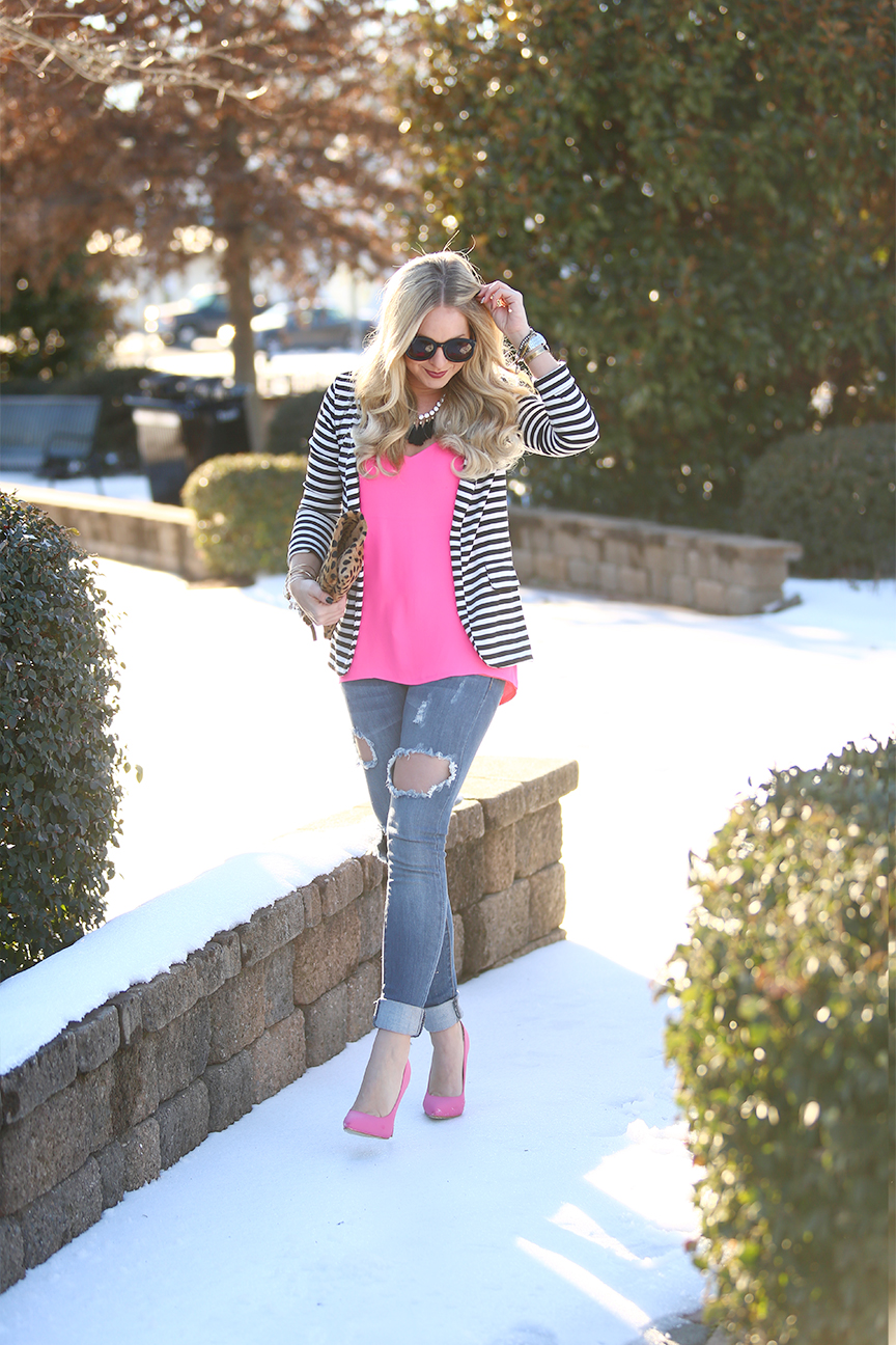 pink in winter outfit