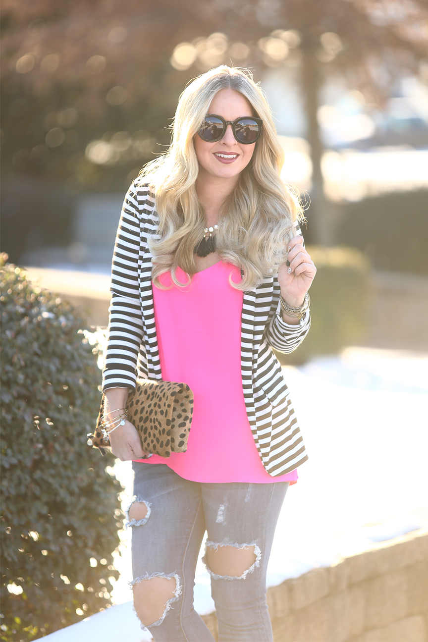 pink mixed with black and white stripes
