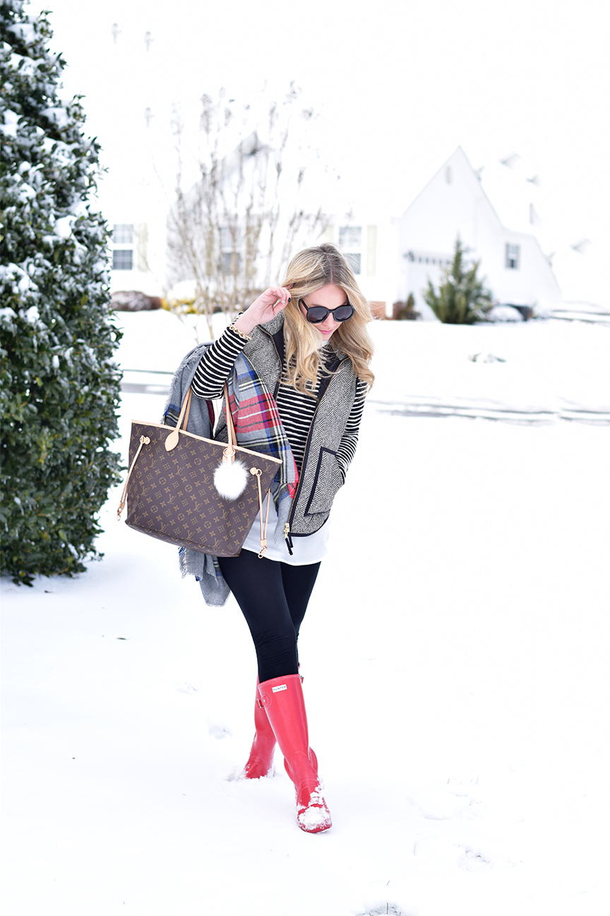 Winter Outfit with hunter boots and louis vuitton neverfull