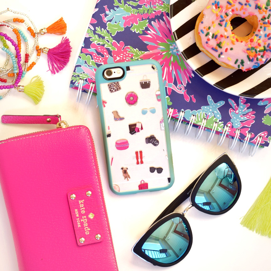kate spade wallet and quay cat-eye glasses