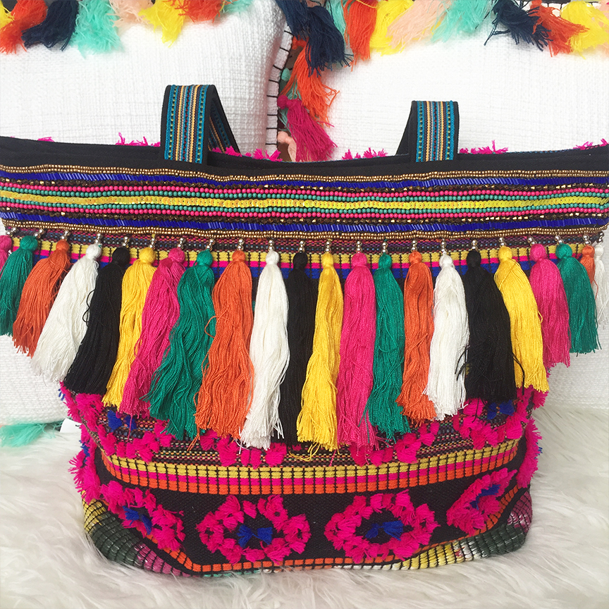 target tassel pillows and tassel beach bag