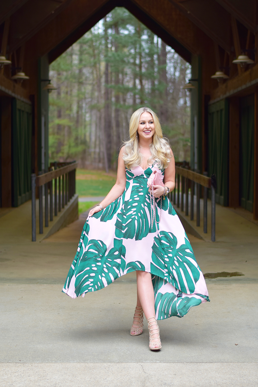Express Palm Leaf Print Dress
