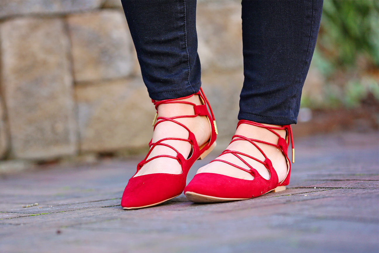 Inexpensive Red Lace-Up Flats