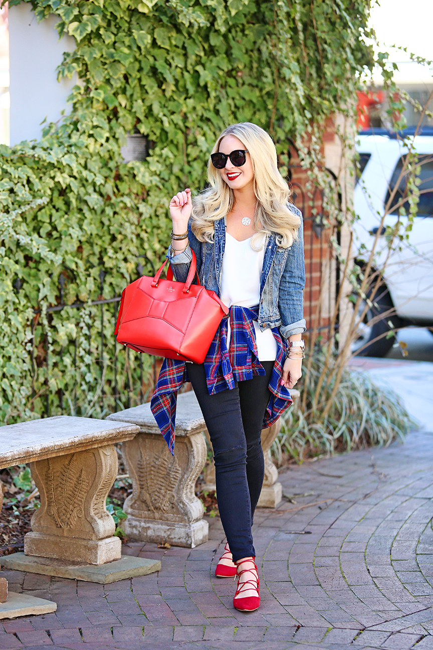 Red Lace Up Flats and Kate Spade Beau Bag