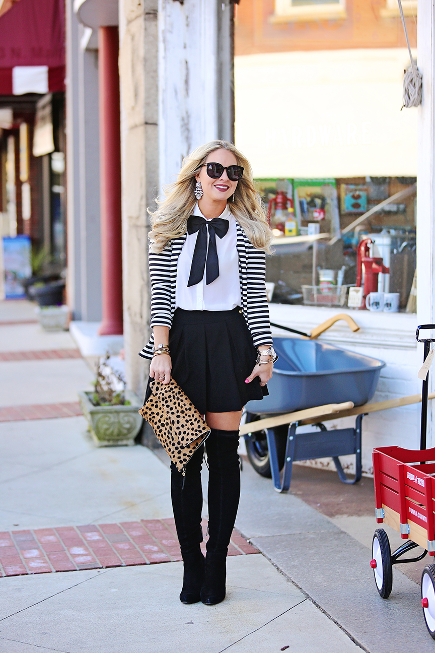 Striped Blazer and Skater Skirt