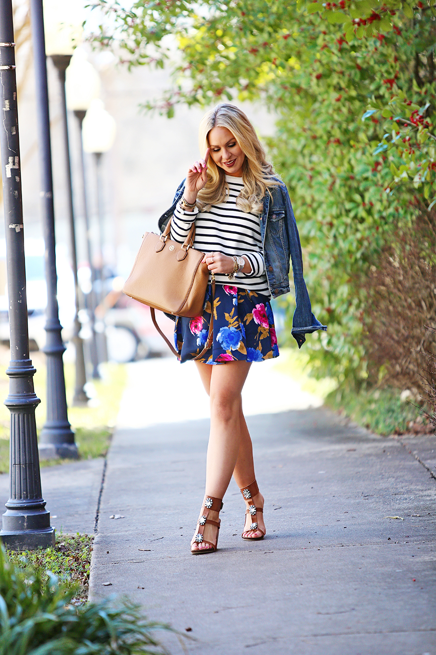 spring transitional outfit mixing prints