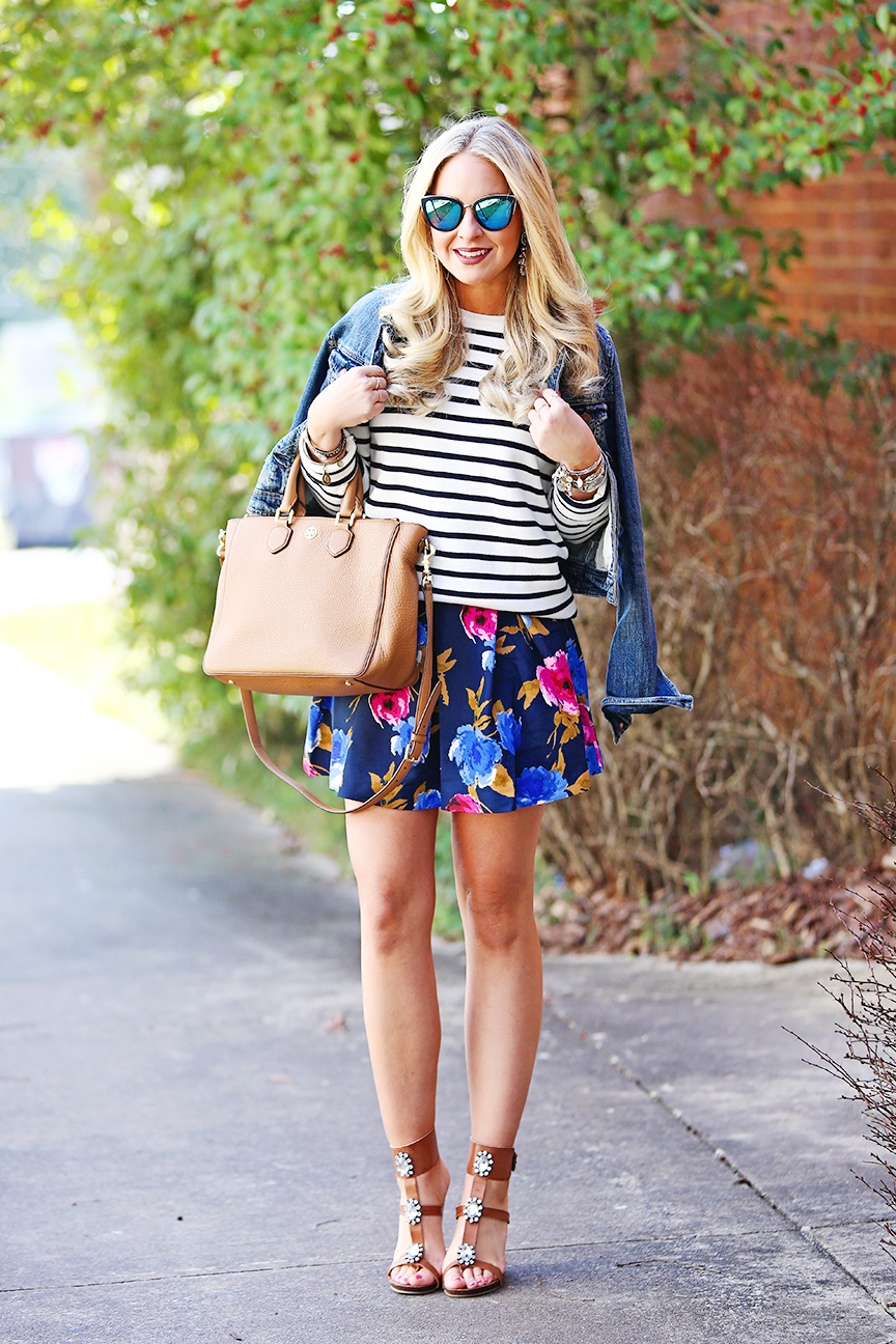 how to mix prints: floral and stripes