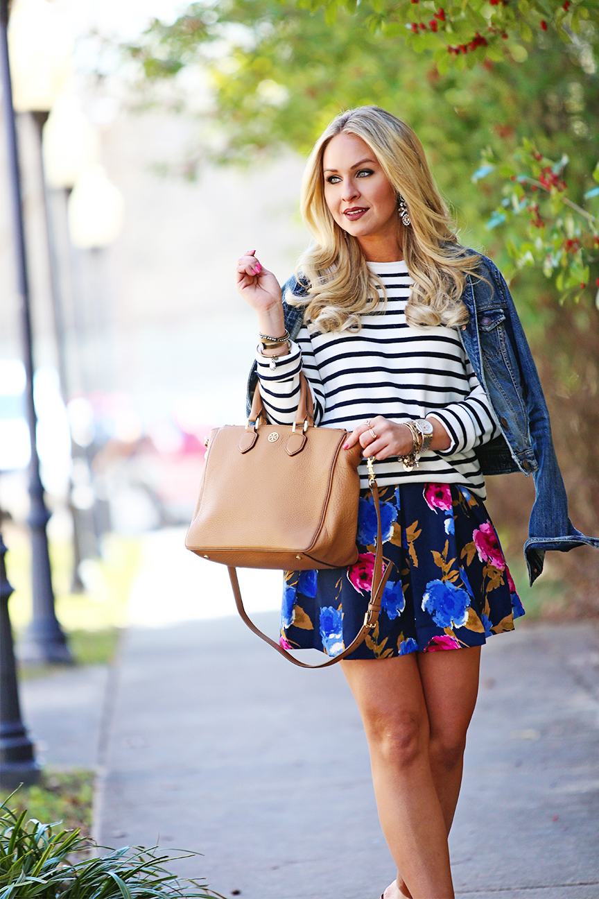 Floral Skirt and Striped Sweater
