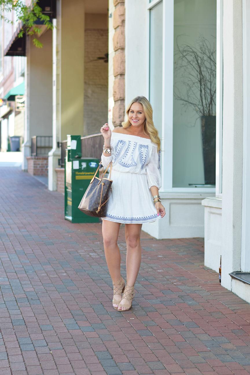 White Off the Shoulder Dress and Sam Edelman Yardley Sandals