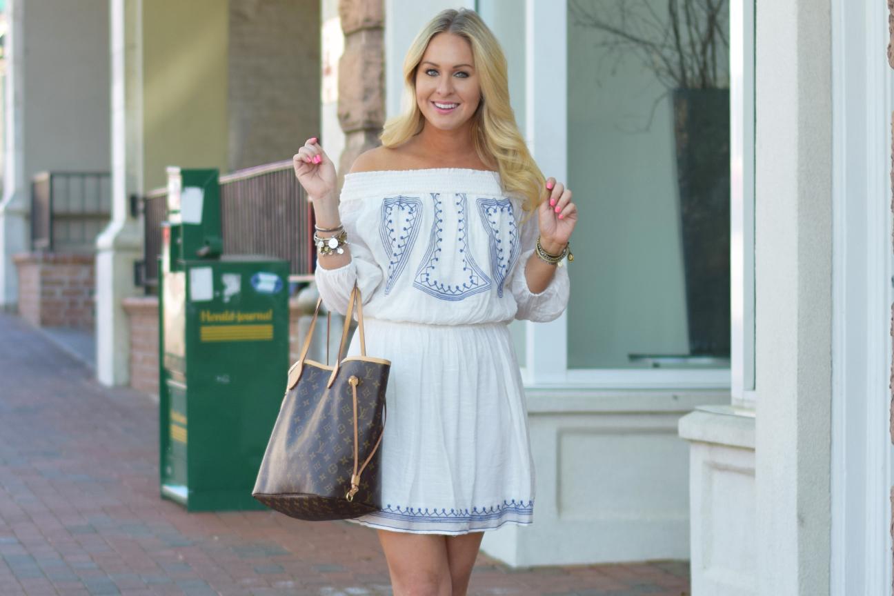 White Cobalt Blue Embroidered Dress