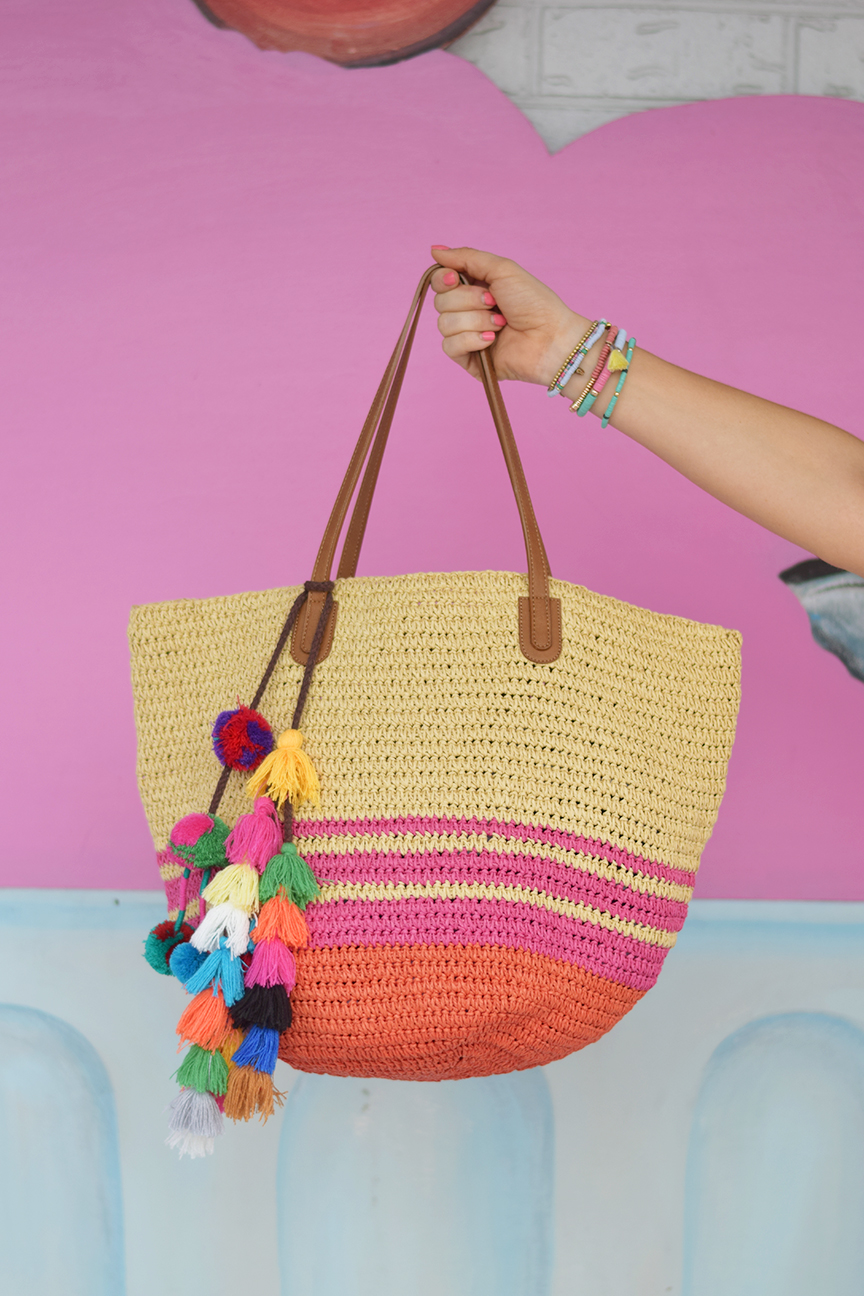 Straw Tote with MISA Pom Pom Charm