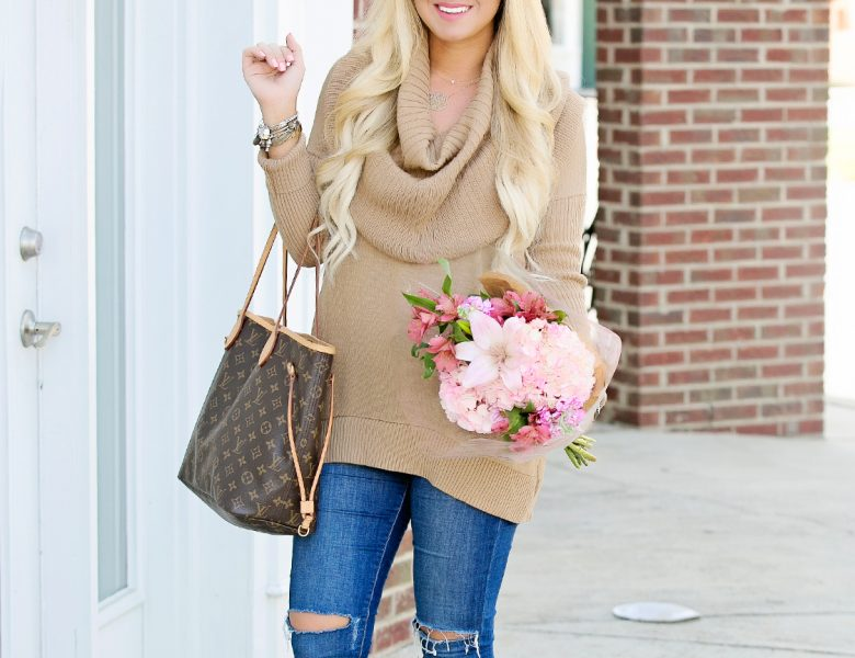 Camel Cowl Neck Sweater 1