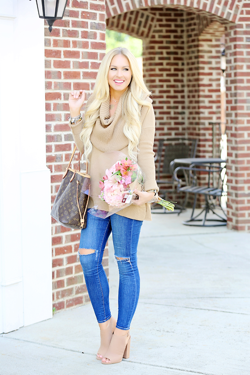 Camel Cowl Neck Sweater 3