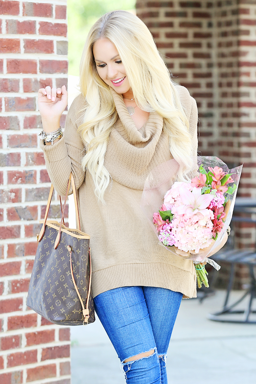 Camel Cowl Neck Sweater 4
