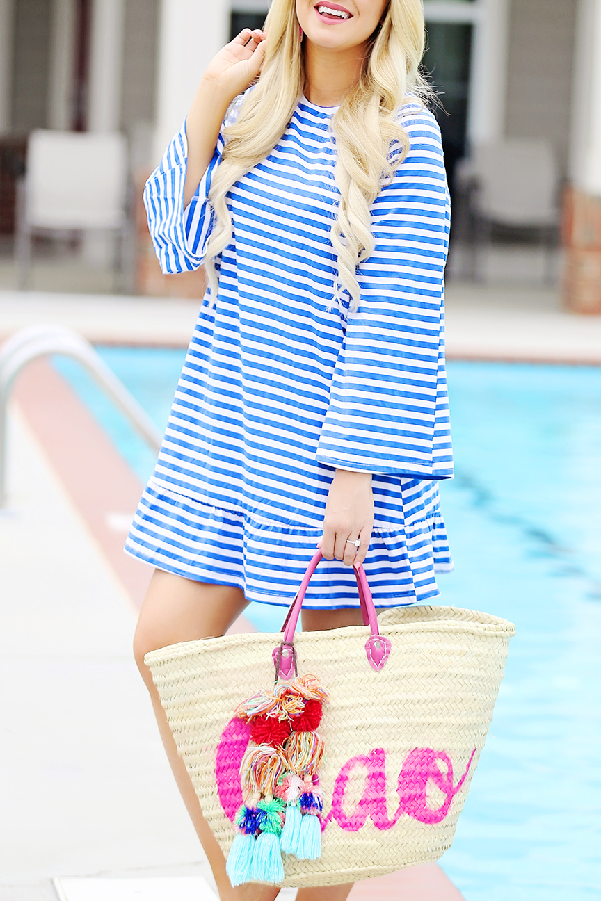 Striped Coverup with tassels on the back
