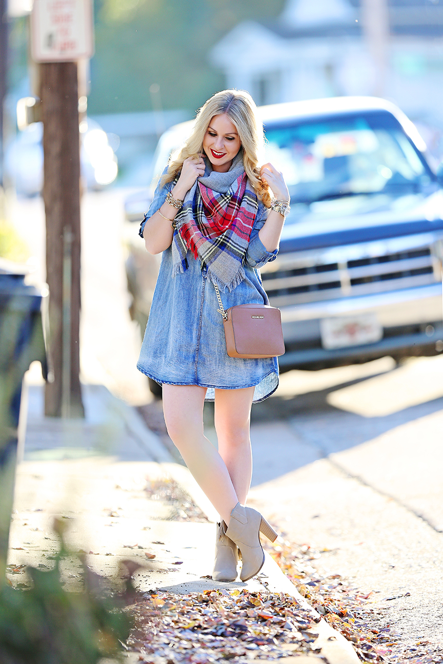 Denim Dress Outfit Fall Inspiration