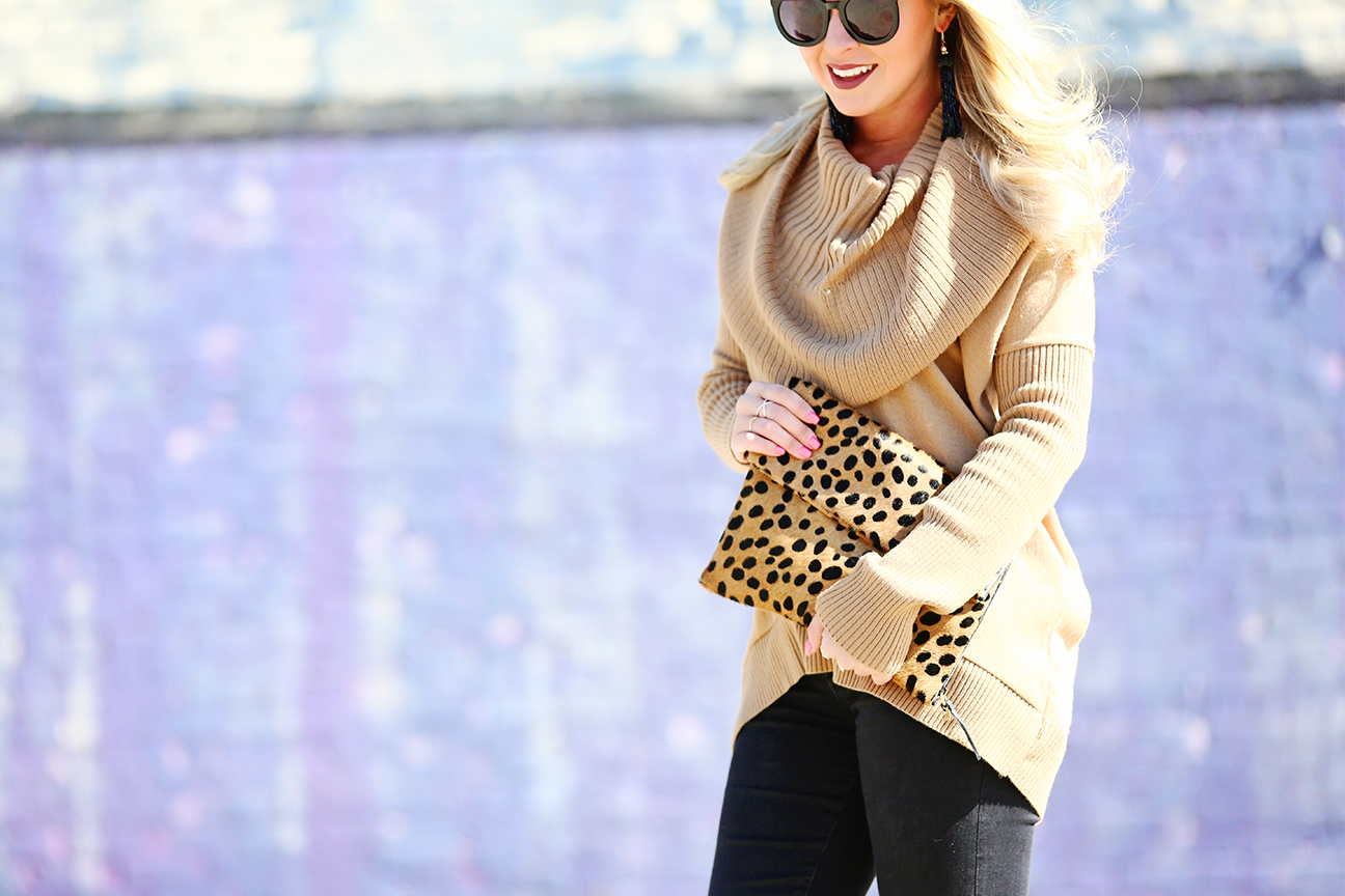 Camel Cowl-Neck Sweater - Cort In Session