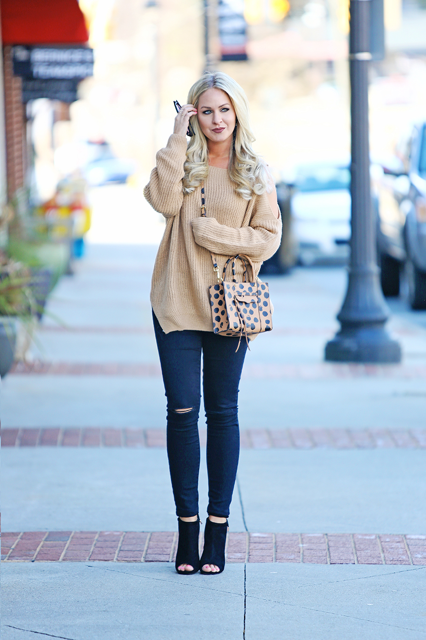 cda3e3faed cognac cold shoulder sweater · winter to spring transitional outfit