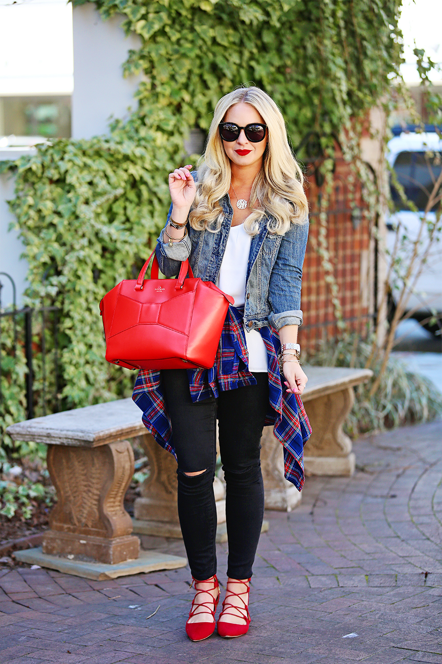 Red Lace-Up Flats Outfit - Cort In Session