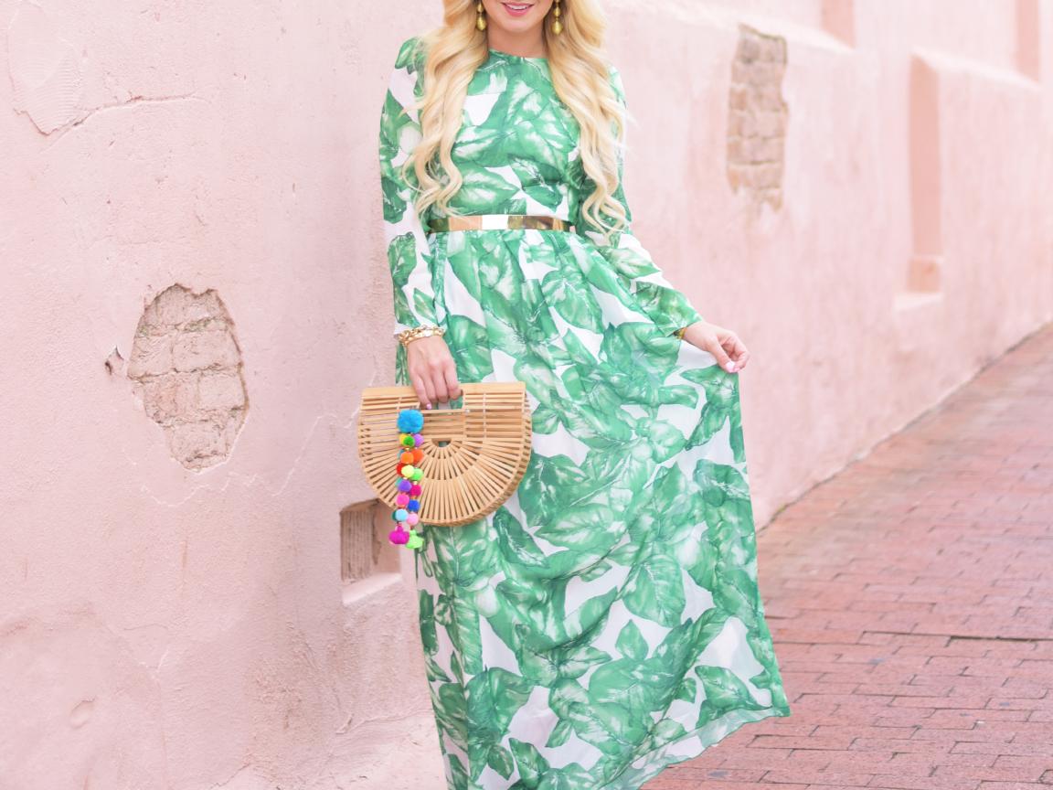 1c40c6d23cc Glam Palm-Leaf Print Maxi Dress - Cort In Session